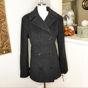 Kenneth Cole Gray Wool Pea Coat Winter Dress Coat